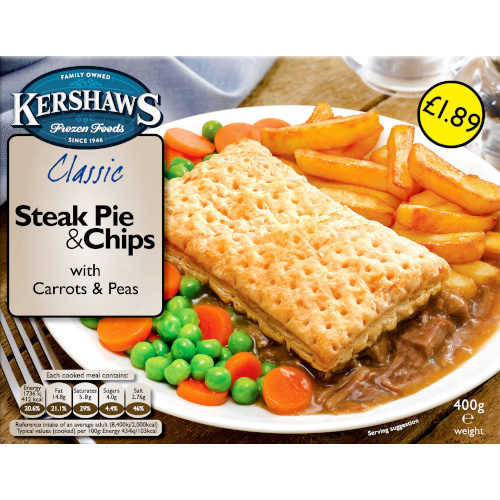 PM £1.89 Kershaws Steak Pie & Chips | FREE DELIVERY ...