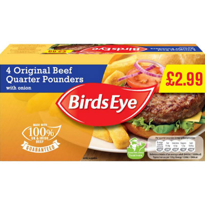 PM £2.99 4 Birds Eye 1/4 Pounder_12x454g_29.29_Meat & Poultry