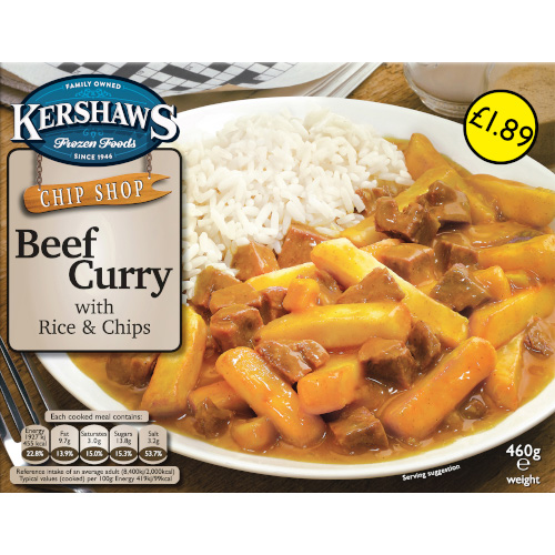 PM £1.89 Kershaws Beef Curry Rice & Chips