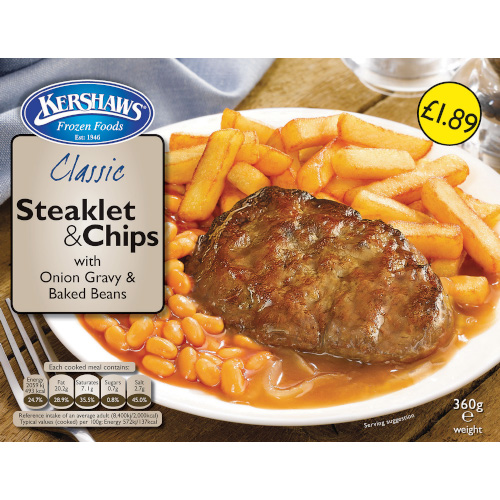 PM £1.89 Kershaws Steaklet & Chips