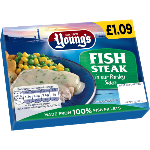 PM £1.09 Young's Fish in Parsley Sauce CASE