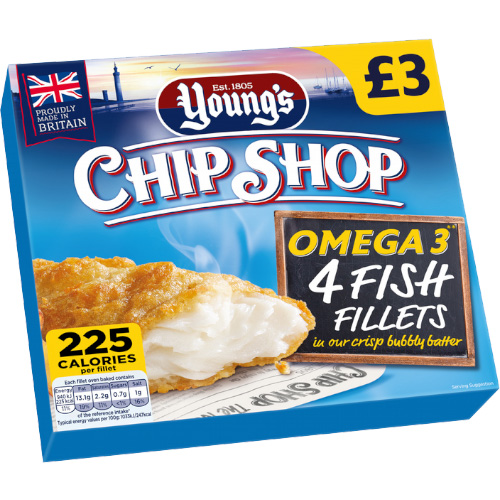 PM £3.00 Chip Shop 4 Fish Fillets Omega 3