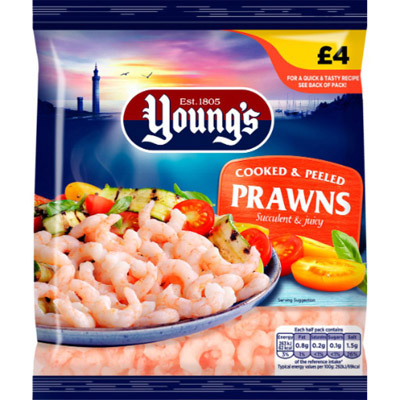 PM £4.00 Young's Prawns CASE
