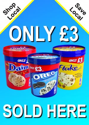 R & R £3 Tubs Sold Here Poster